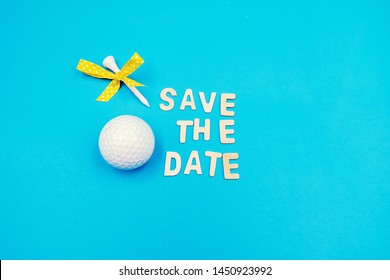 Golf Save the Date with golf ball and tee on blue background