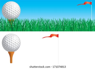 Golf set. Banner of Golf ball and flag on green grass and Golf ball and flag isolated on white background