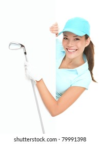 Golf sign - female golf player showing white paper sign holding golf club. Beautiful smiling Asian Caucasian woman isolated on white background.