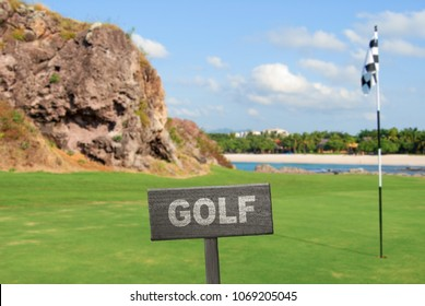 Golf sign on golf course