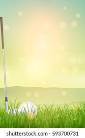 Golf sport invitation poster or flyer background with space