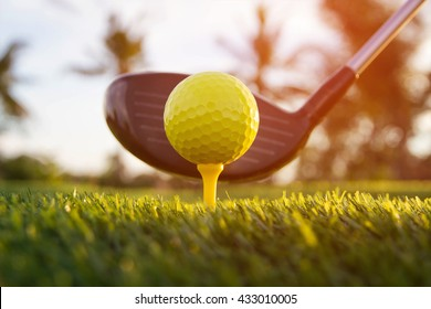 Golf swing shot in course