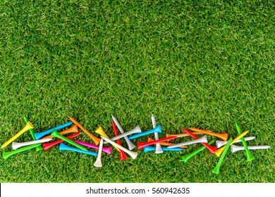 golf tee on grass in golf course