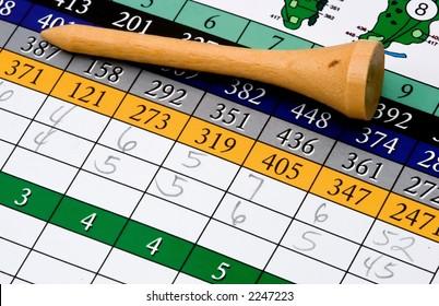 Golf tee and scorecard