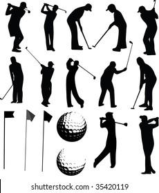 Golf vector set on white background