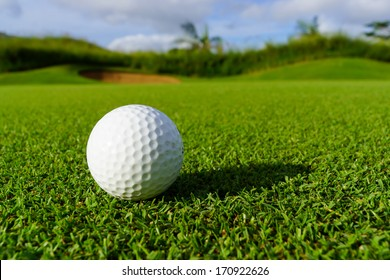 Golfball on grass infront of the green