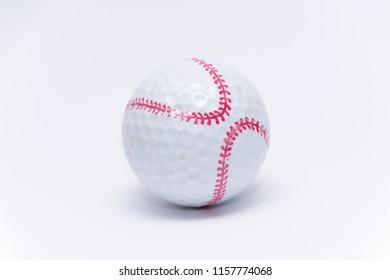 Golfball painted like a baseball ball golf balls
