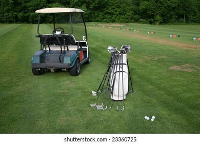 Golf-car and golf-clubs