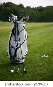 Golf-clubs with bag. Focus on bag