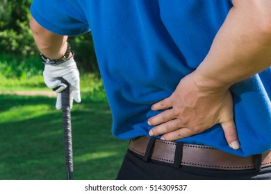 Golfer Back pain during the tournament, muscle injury concept.