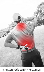 Golfer Back pain, muscle injury concept.