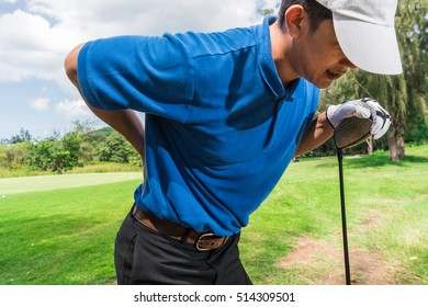 Golfer Back and shoulder pain during the tournament, muscle injury concept.