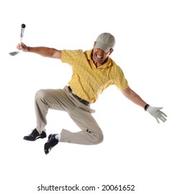 Golfer clicking heels to celebrate isolated over a white background