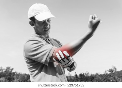 Golfer Elbow pain, muscle injury concept. black and white and red color for show position of pain.