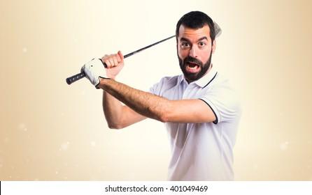 Golfer giving a hit