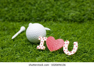 To golfer with love red heart on valentine's day