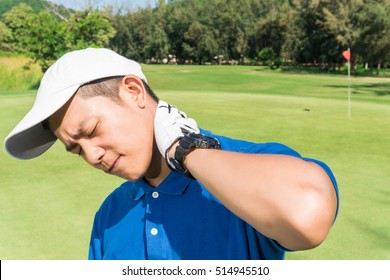 Golfer neck pain during the game, muscle injury concept.