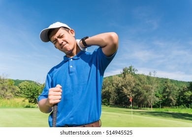 Golfer neck and shoulder pain during the game, muscle injury concept.