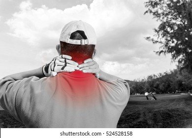 Golfer neck and shoulder pain during the game, muscle injury. black and white and red color for show position of pain.