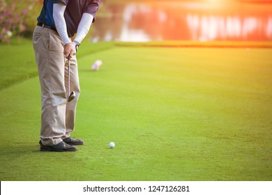 golfer play golf in a golf course with space for text in vintage tone