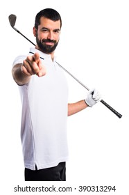 Golfer pointing to the front