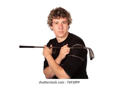 Golfer in practise mode with golf club in arms