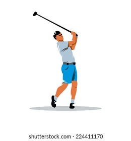 Golfer sign Branding Identity Corporate logo design template Isolated on a white background