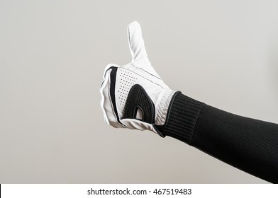 Golfer Wearing Golf Glove Giving Thumbs Up Sign