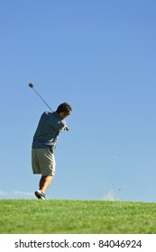a golfer who hits the ball