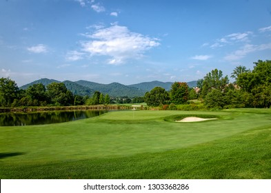 Golfing on a Late Summer Morning in August in the Blue Ridge Mountains.