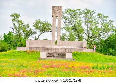 Goliad, Texas / USA - 6  April 2019:  Fannin Memorial Monument and mass grave for the 425-445 prisoners of war killed by the Mexican Army.