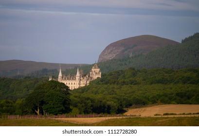 GOLSPIE, SCOTLAND, UK - August 13, 2017: The exterior of Dunrobin Castle near Golspie Sutherland Scotland UK