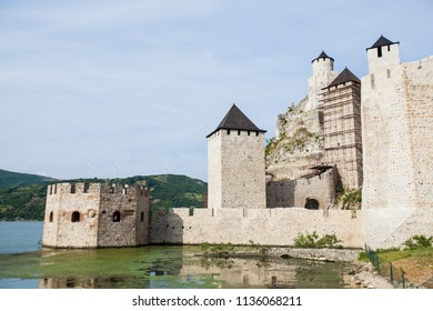The Golubac Fortress a medieval fortified town, popular tourist attraction, marks the entrance to the Iron Gates, gorge on the river Danube, located on north-eastern Serbia