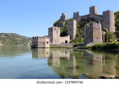 Golubac Fortress - Medieval landmark in Serbia. Danube river view.