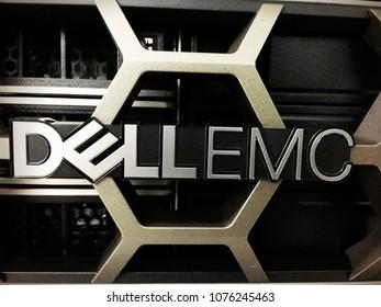 Gombak, Kuala Lumpur, Malaysia, 17th April 2018 - Letters Dell Emc emblem on a Dell Emc product in data centre