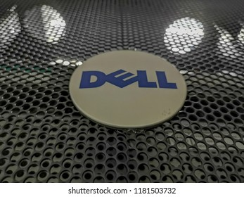 Gombak, Kuala Lumpur, Malaysia, 19th August 2018 - Letters Dell Emc emblem on Dell Emc product in a data center