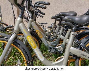 Gombak, Kuala Lumpur, Malaysia, 19th August 2018 - A row of obike park aftsr been used. Obike is a first station less smart bike share system in Malaysia which is providing the freedom of riding