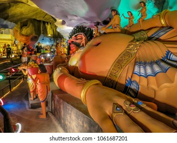 Gombak, Malaysia - 10/9/2016: Diorama depicts a reclining Hindu god Lord Rama being attended to by several of his devotees. Ramanyana Cave is dedicated to the life of Lord Rama. Location Batu Caves.