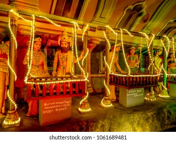 Gombak, Malaysia - 10/9/2016: Diorama inside the Ramayana Cave depicts events during the life of Lord Rama, a Hindu God, in the Batu Cave Complex.