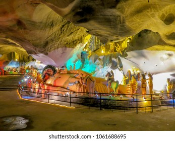 Gombak, Malaysia - 10/9/2016: Diorama of Lord Rama being attended to by several of his devotees in Ramayana Cave, part of the Batu Cave Complex.