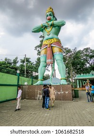 Gombak, Malaysia - 10/9/2016: Lord Hanuman, devotee and aide of Lord Rama, called the Monkey God is a 50' statue at the entrance to the Ramayana Cave, part of the Batu Cave Complex.