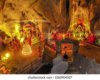 Gombak, Malaysia - 10/9/2016: A section of Ramayana Cave interior showing a number of dioramas depicting the life of Lord Rama, a Hindu god, at Batu Cave Complex.