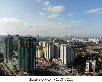 Gombak, Malaysia - Mac 9, 2018: Aerial view of Melati Business Park near KL East. MRR2 Highway.