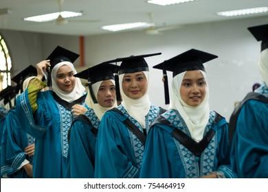 GOMBAK, MALAYSIA - NOVEMBER 13, 2017 : 33RD IIUM Convocation ceremony - Graduation day for IIUM Student, Selective focus.