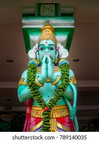 Gombak, Selangor, Malaysia - 10/09/2016: Statue to Hanuman, a popular Hinduism deity, that stands in the popular tourist attraction and religious site, Batu Caves, in Gombak, Selangor, Malaysia.