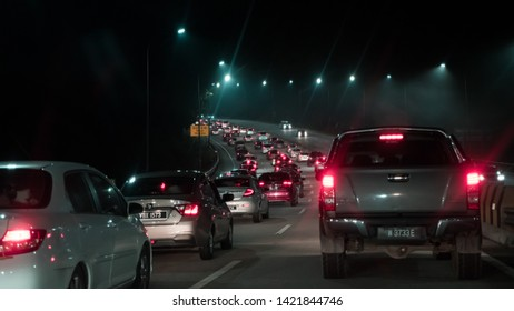 Gombak, Selangor / Malaysia - June 8th 2019: Traffic congestion at KL-Karak Highway as motorists are returning from the long holidays