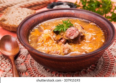 Gombaleves - Chrismtas hungarian soup with sauerkraut, sausages, mushrooms and barley