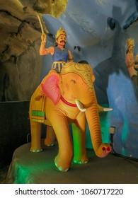 Gombek, Selangor, Kuala Lumpur, Malaysia - 10/9/2016: Diorama of Lord Rama riding into battle on his war elephant in the Ramayana Cave at Batu Caves, .