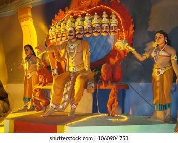 Gombok, Malaysia - 10/9/2016: Diorama of Ravana, the ten-headed Hindu Demon King, in the Ramayana Cave at Batu Caves.