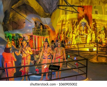 Gombok, Malaysia - 10/9/2016: Several dioramas inside the Ramayana Cave depicting events during the life of Lord Rama, a Hindu god, at the Batu Cave Complex.
